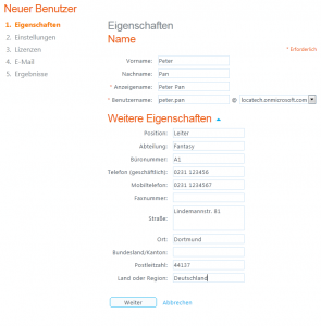 Office365 - Benutzer einzeln anlegen