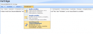 """Menüpunkt """"Einstellungen für Dokumentbibliothek"""""""
