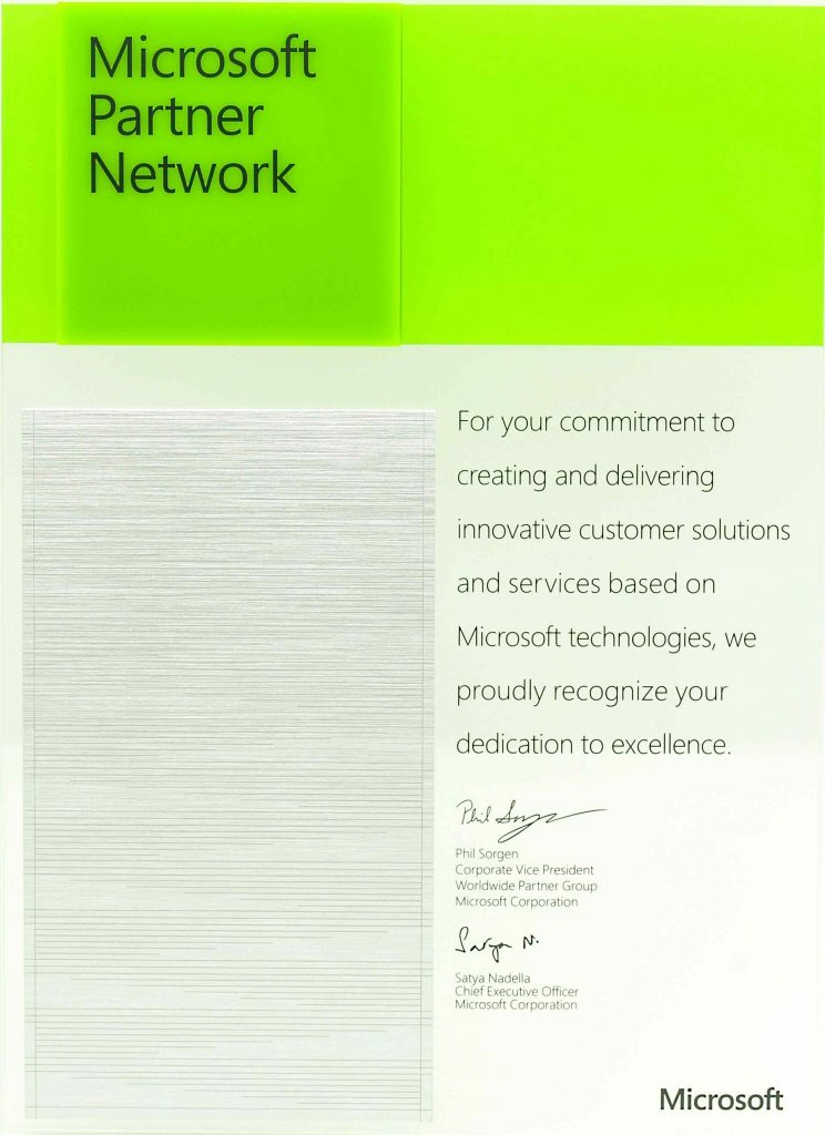 Microsoft Partner Network Award